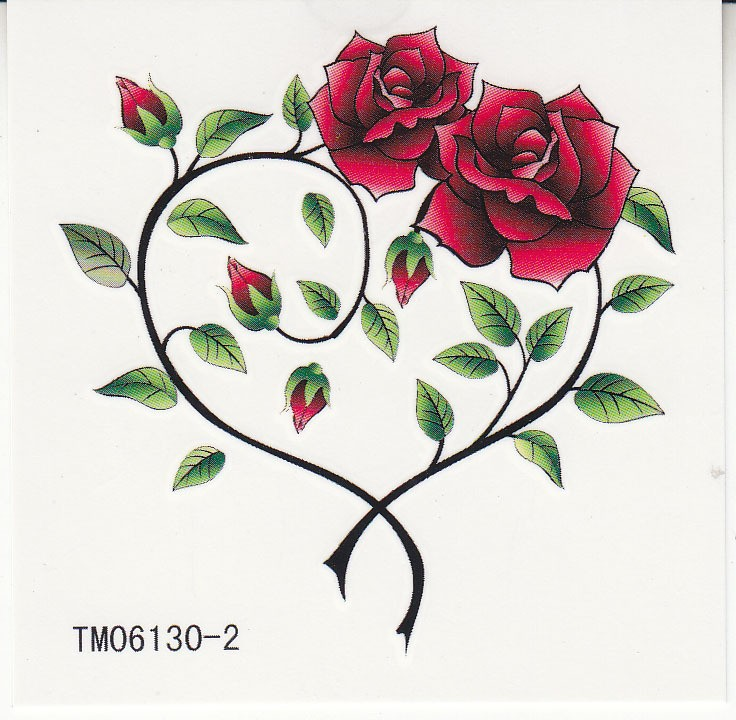 736x720 Waterproof Temporary Tattoos Two Roses, Heart Shaped[Wst12901]