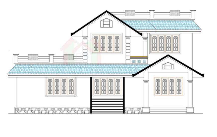 872x553 Drawing Of Kerala House, Two Storey, Three Bedrooms And 219 Square