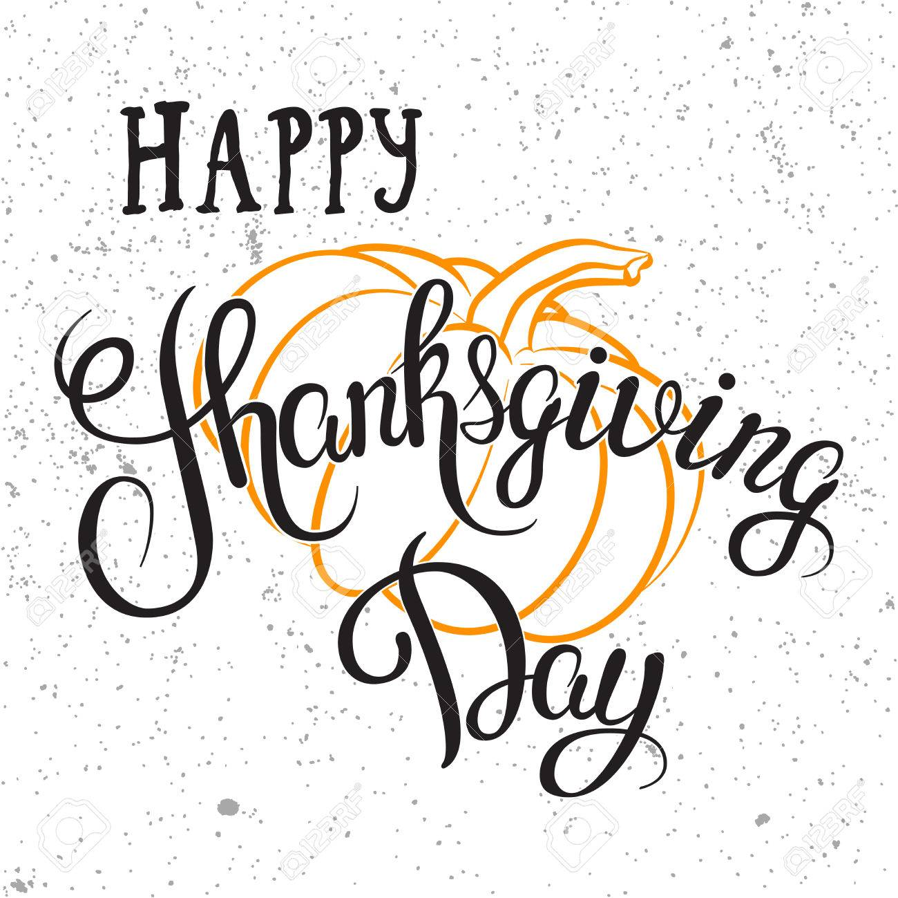 1300x1299 Happy Thanksgiving Day Hand Drawn Lettering Poster.vector Isolated