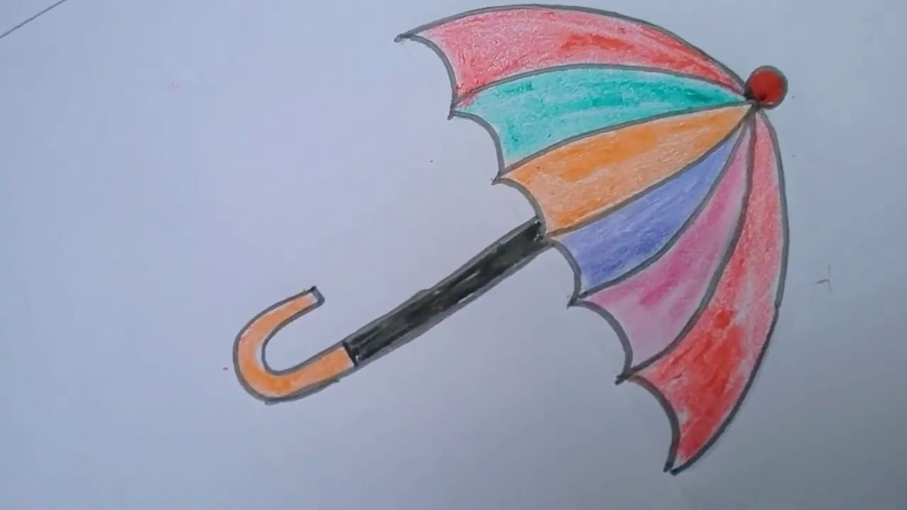 1280x720 How To Draw An Umbrella Step By Step Method For Kids I Umbrella
