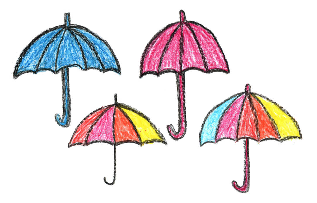 1084x696 4 Crayon Umbrella Drawing (Png Transparent)