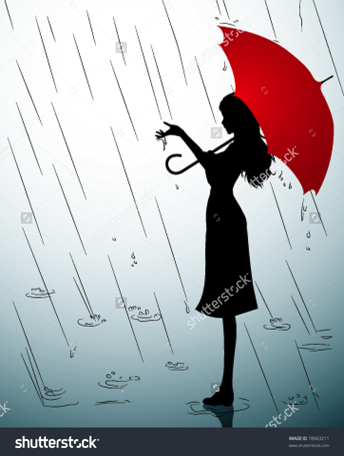 1207x1600 Drawing Of A Girl In The Rain An Umbrella Girl Boy