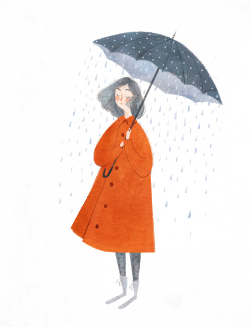 500x650 Spring Showers, April, Rain, Umbrella, Drawing, Painting, Design