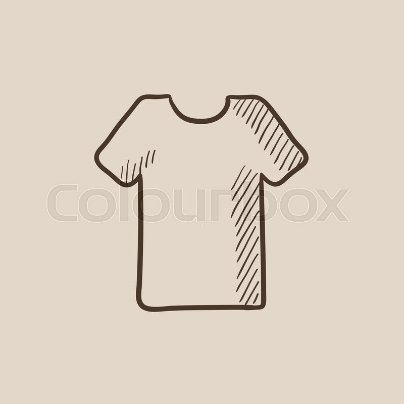 800x800 T Shirt Sketch Icon For Web, Mobile And Infographics. Hand Drawn