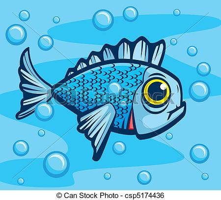 450x407 Fish Underwater. A Single Cartoon Fish Swimming Underwater. Clip