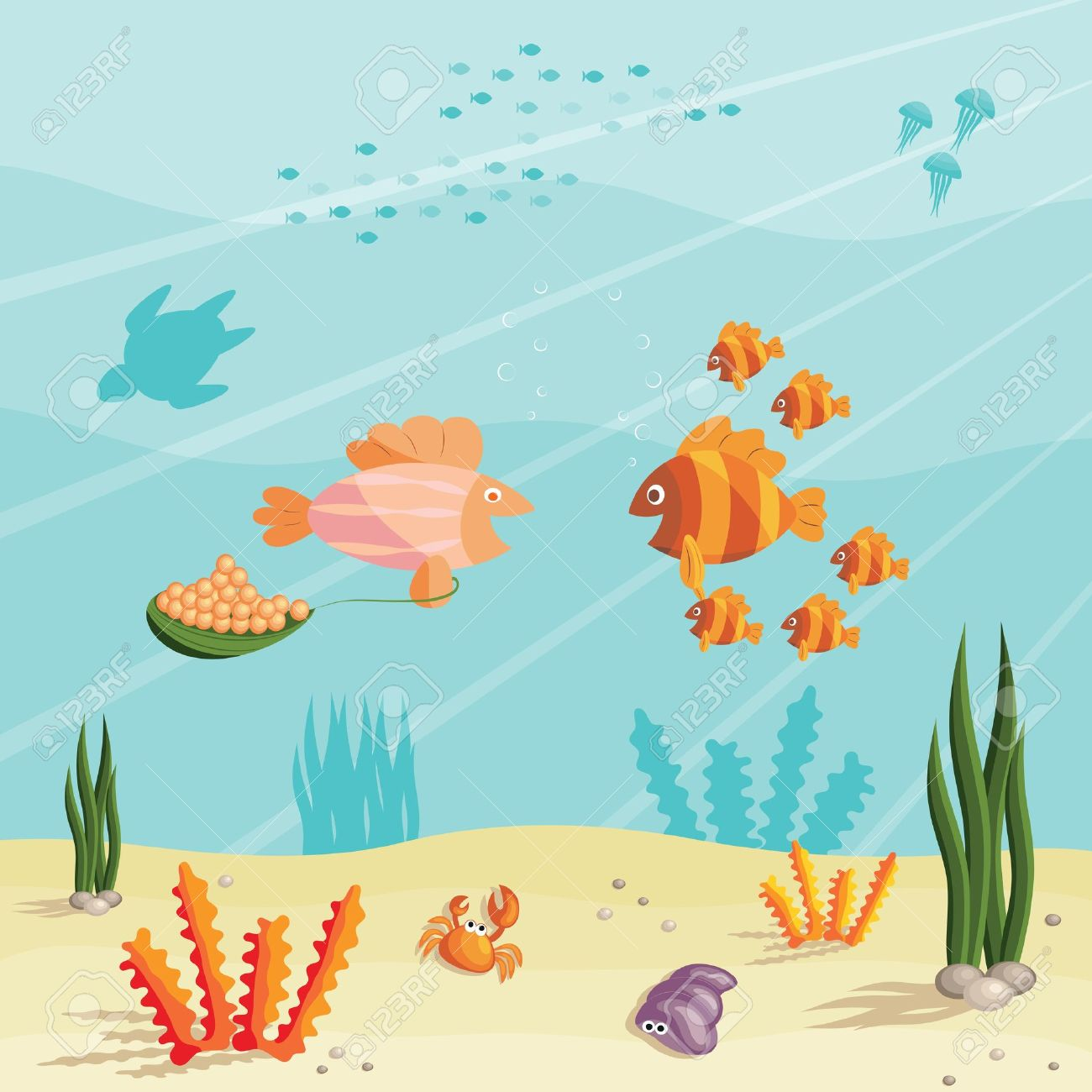 1300x1300 Illustration Of An Underwater Ocean Scene With Small Cartoon