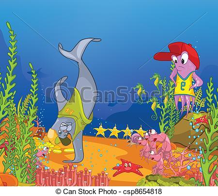450x404 Ocean Underwater World Cartoon. Coral Reef With Alga And Vector