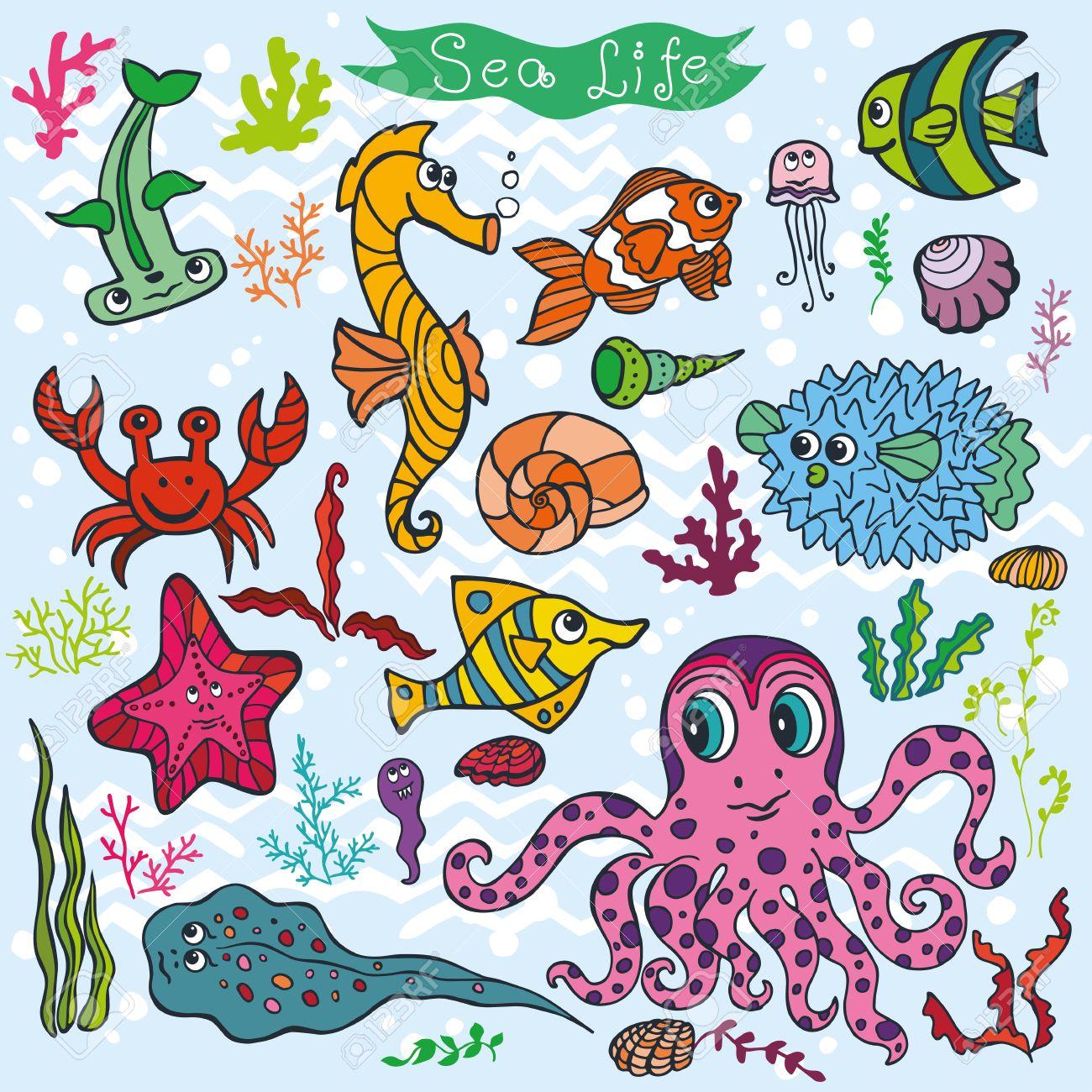 1300x1300 Sea Life Animals Set Fish, Octopus, Crab, Seahorse With Coral