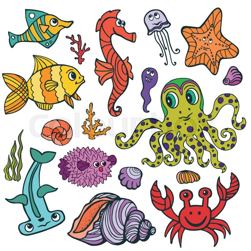 800x800 Sea Life Animals Set. Fish And Octopus, Crab, Seahorse With Coral