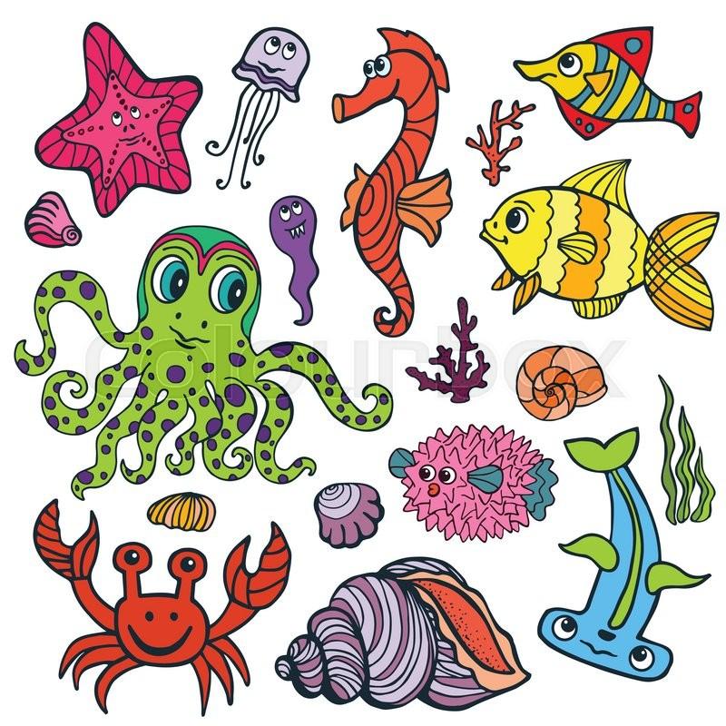 800x800 Sea Life Animals Set.fish, Octopus, Crab, Seahorse With Coral