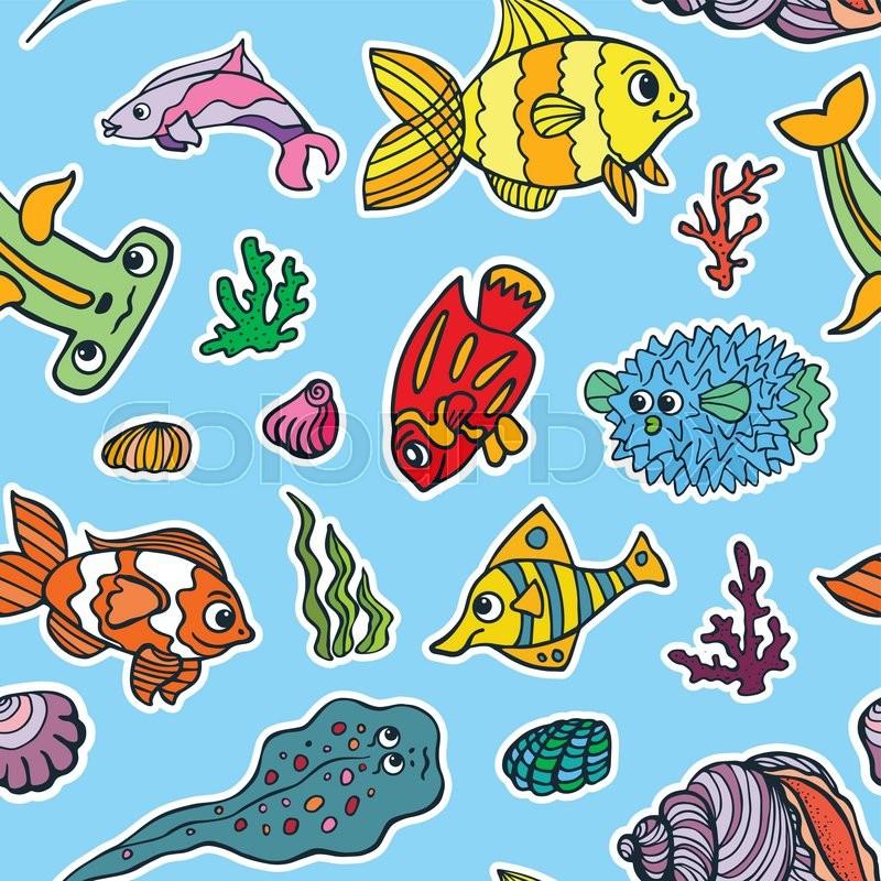 800x800 Sea Life Fish Seamless Pattern,background. Funny Cartoon Doodle