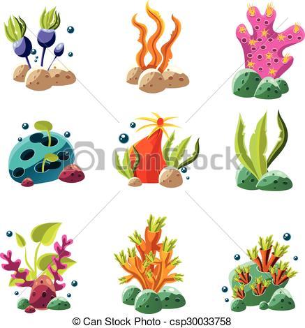 437x470 Set Of Cartoon Underwater Plants And Creatures. Vector Clipart