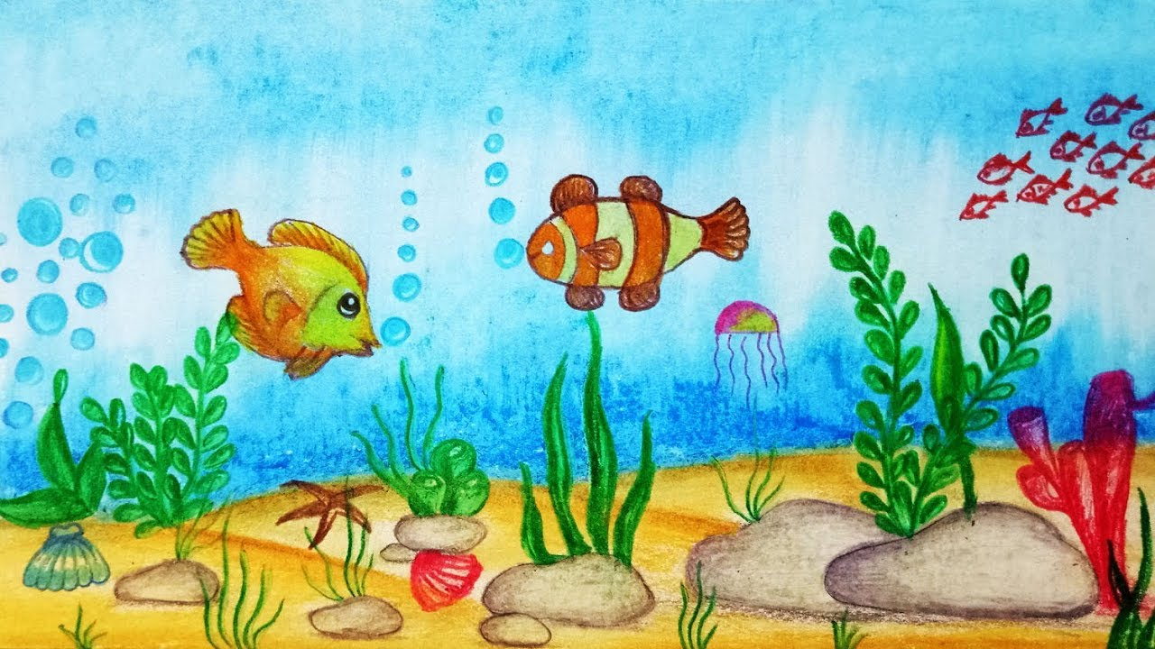 1280x720 How To Draw Underwater Scenery. Step By Step (Easy Draw)
