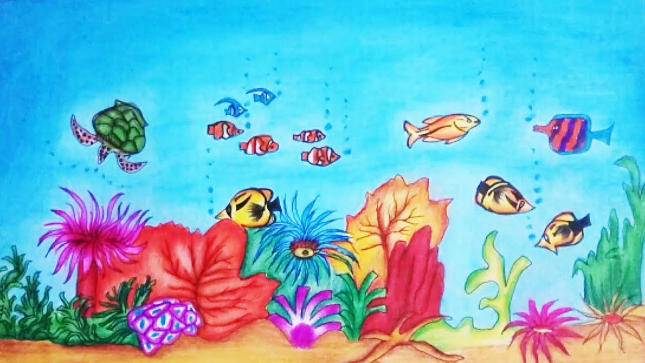 1280x720 How To Draw Underwater Scene Step By Step