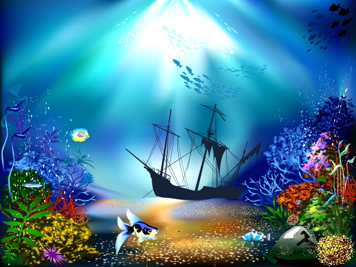 700x525 Scenery Of Underwater Drawing