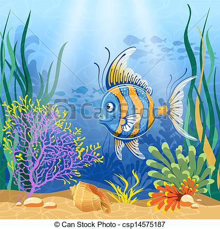 450x470 Underwater Landscape With Exotic Fish Vector