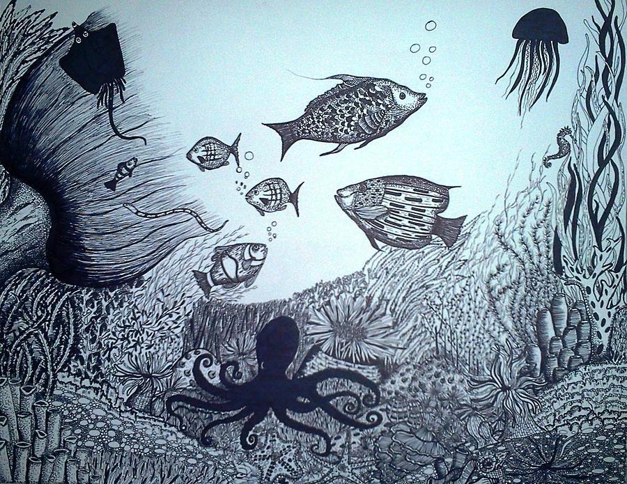 900x695 Water Pen And Ink Drawing By Preetha Jayachandran