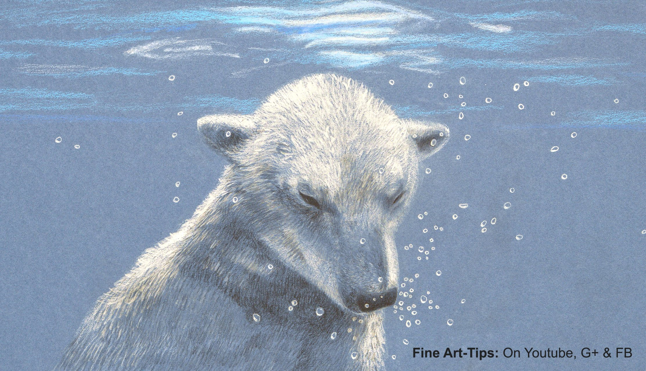 2224x1276 How To Draw A Polar Bear Under Water, With Color Pencils