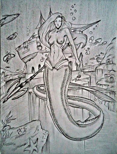 388x512 Mermaid Pencil Drawing By Mohit Kumar Rao Artist drawing