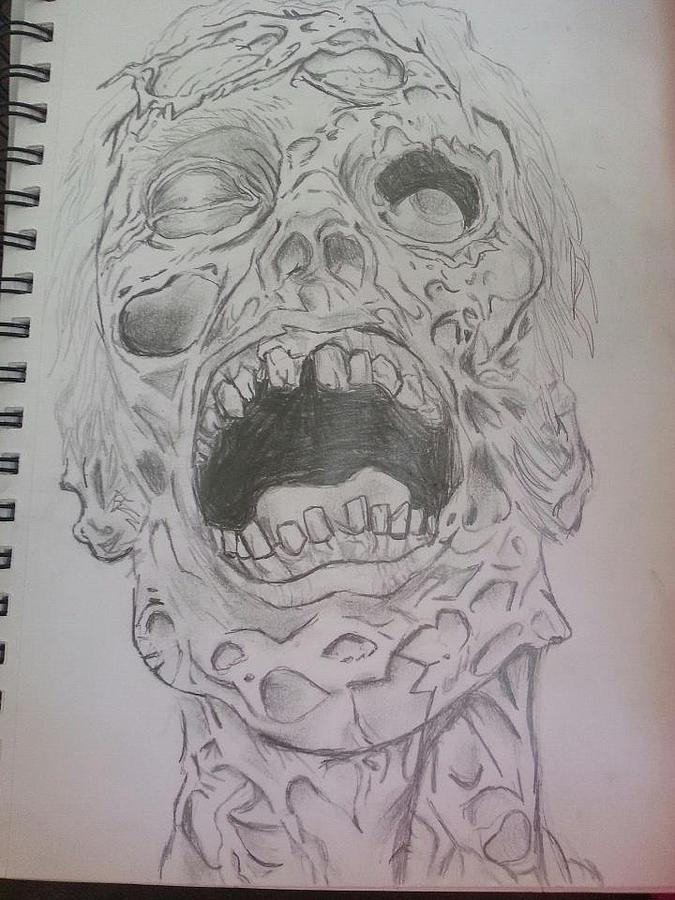 675x900 Underwater Walking Dead Drawing By Dana Floyd