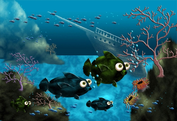 600x410 Photoshop Drawing Draw An Underwater Scene With Fish From Scratch