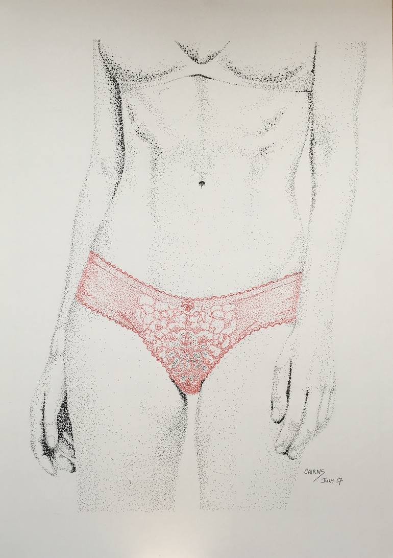 770x1092 Saatchi Art Red Underwear Drawing By Christopher Cairns