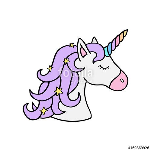 500x500 Colorful Rainbow Unicorn Vector Illustration Drawing. Cute