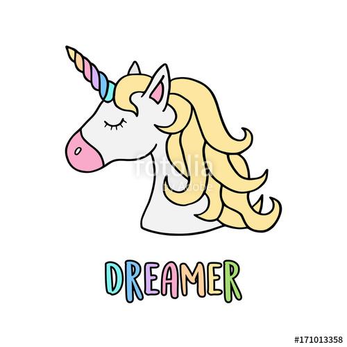 500x500 Unicorn Vector Illustration Drawing With Rainbow Writing Dreamer