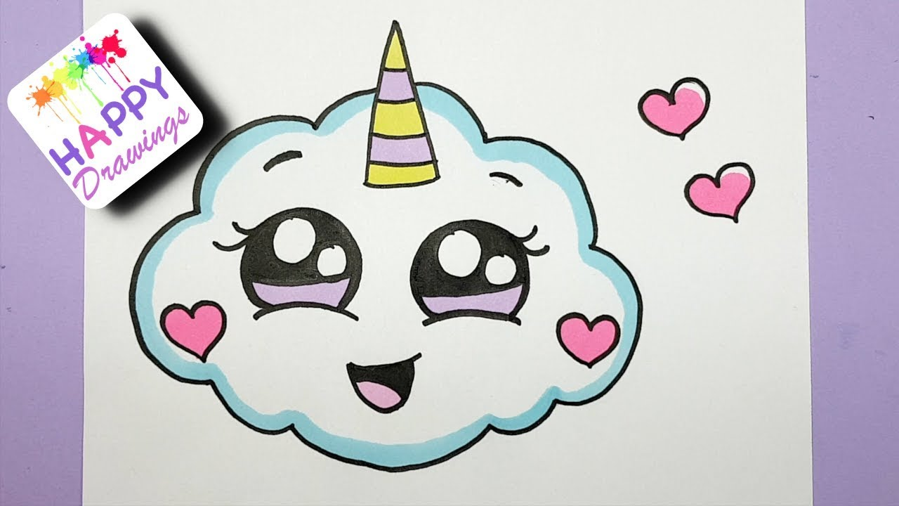 1280x720 How To Draw A Super Cute Cloud Emoji Unicorn