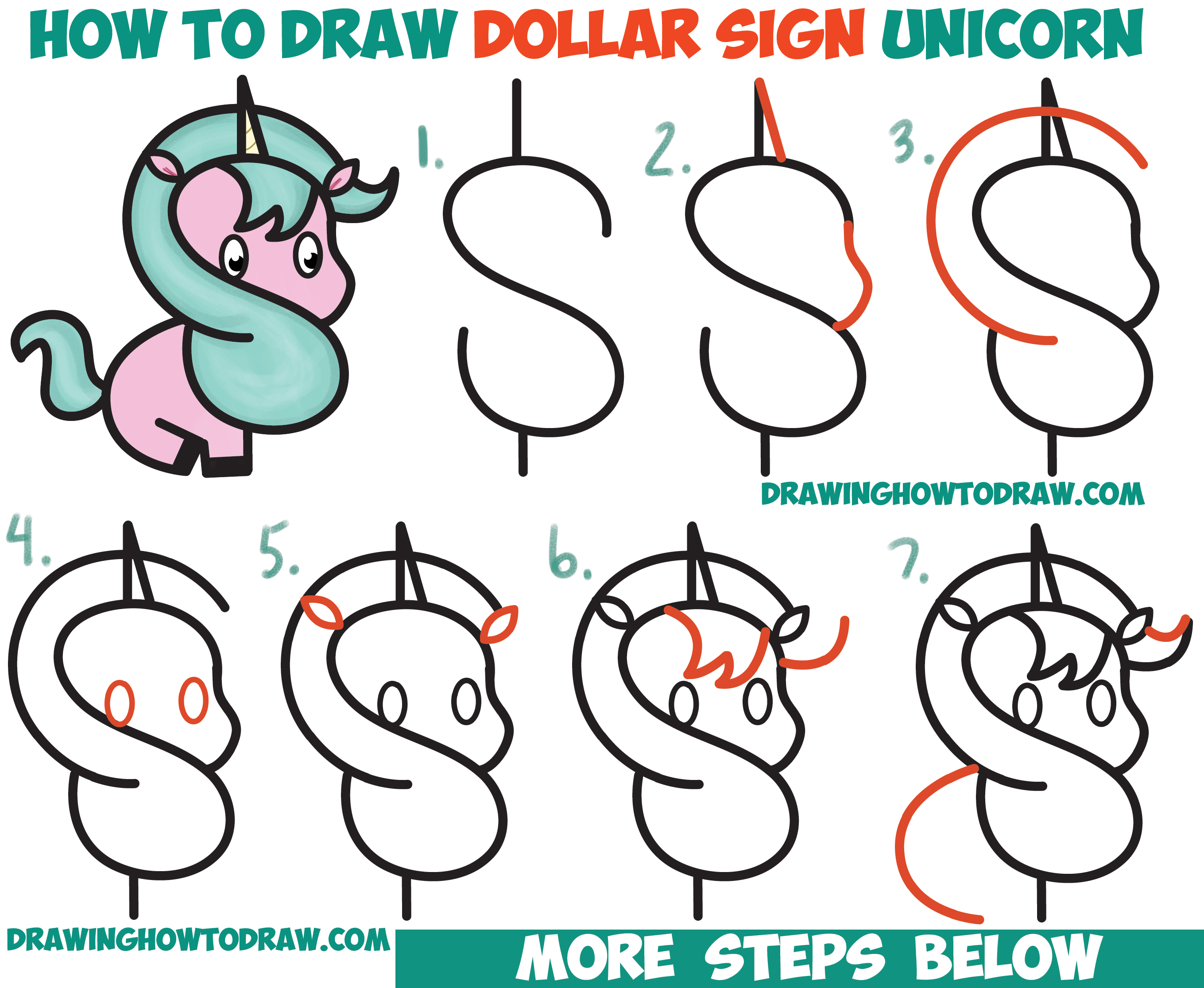 2719x2232 How To Draw A Cute Cartoon Unicorn (Kawaii) From A Dollar Sign
