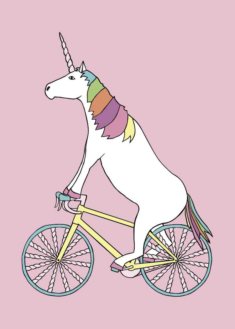 750x1050 Line Draw Unicorn Riding Bike With Unicorn Horn Spoked Wheels
