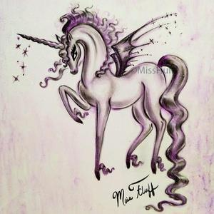 300x300 Unicorn With Bat Wings Original Drawing 9x12 Miss Fluff's Boutique