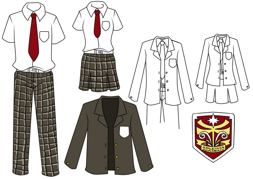 874x620 High School Uniform By Yami Izumi On Brown Bottom, Red
