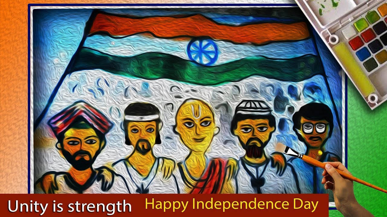 1280x720 Creative Drawing Happy Independence Day Unity Is Strength