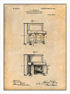 224x300 1907 Steinway Upright Piano Patent Print Art Drawing Poster 18 X