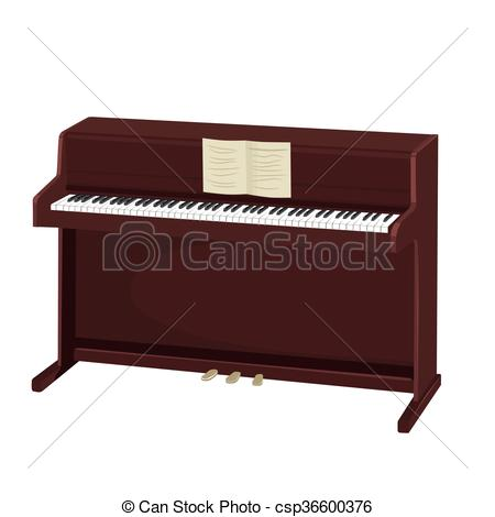 450x470 Brown Upright Piano With Notes On White Background. Brown