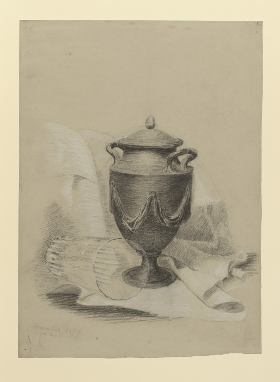 563x768 Drawing Of A Swagged Urn (Black Basalt Ware) And A Glass Tumbler