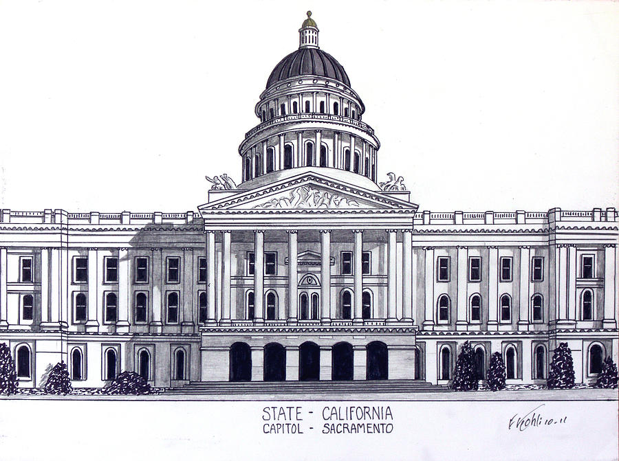 900x671 California State Capitol Drawing By Frederic Kohli