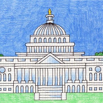 400x400 Draw The Us Capitol Jamestown Art Drawings