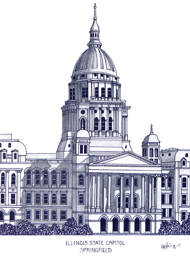 658x900 Illinois State Capitol Drawing By Frederic Kohli