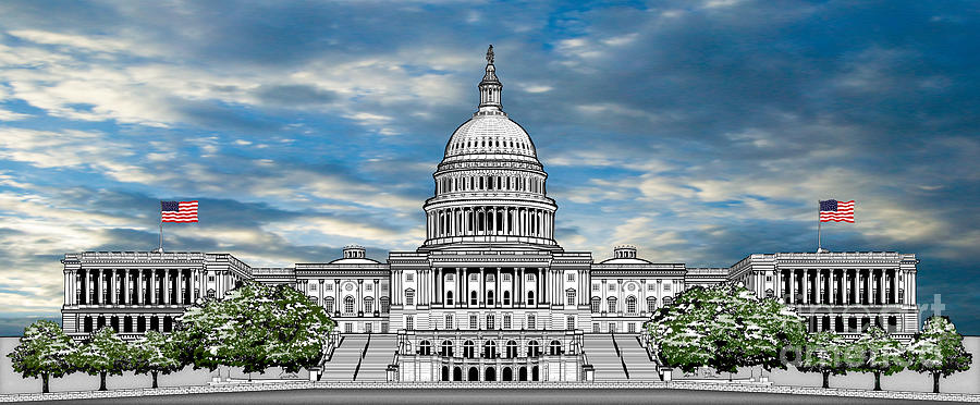 900x372 United States Capitol Building Drawing By Doug Larue
