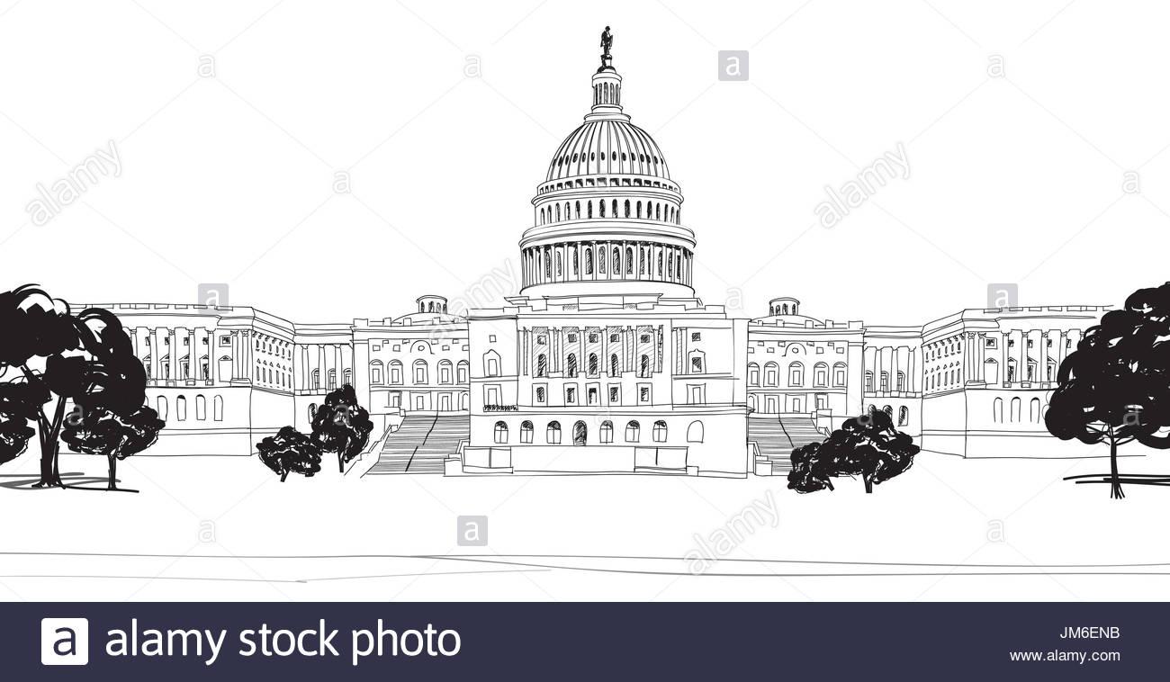 1300x758 Washington Dc Capitol Landscape, Usa. Pencil Drawing. Capitol