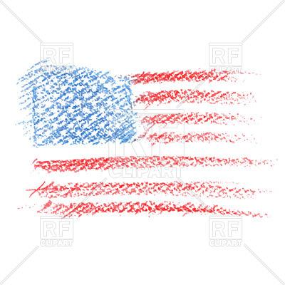 400x400 Crayon Drawing Of Usa Flag Royalty Free Vector Clip Art Image