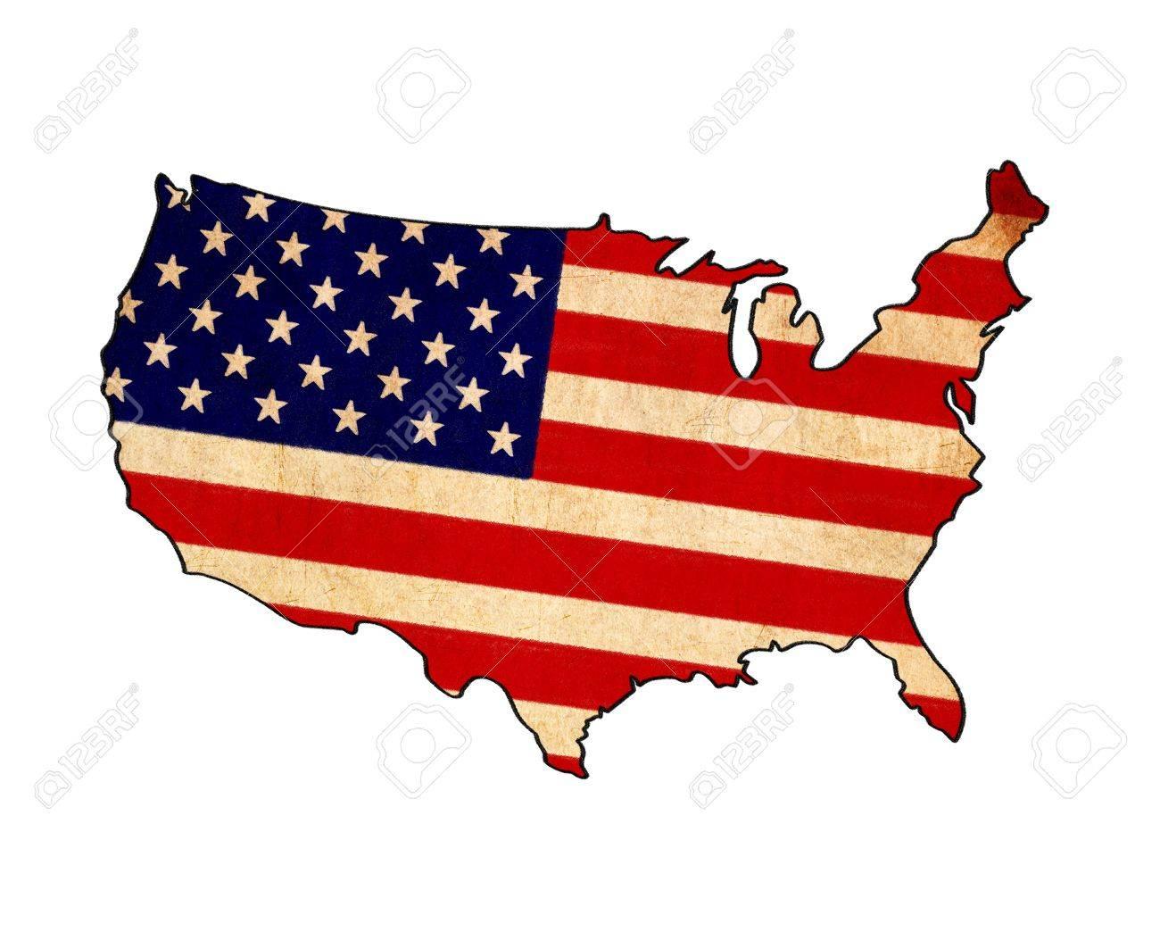 1300x1053 Usa Map On Usa Flag Drawing ,grunge And Retro Flag Series Stock