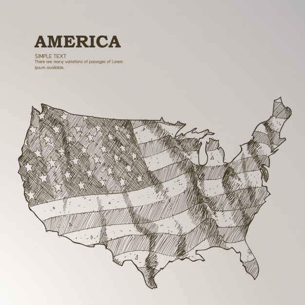 626x626 Hand Drawn Us Map With American Flag Vector Free Download