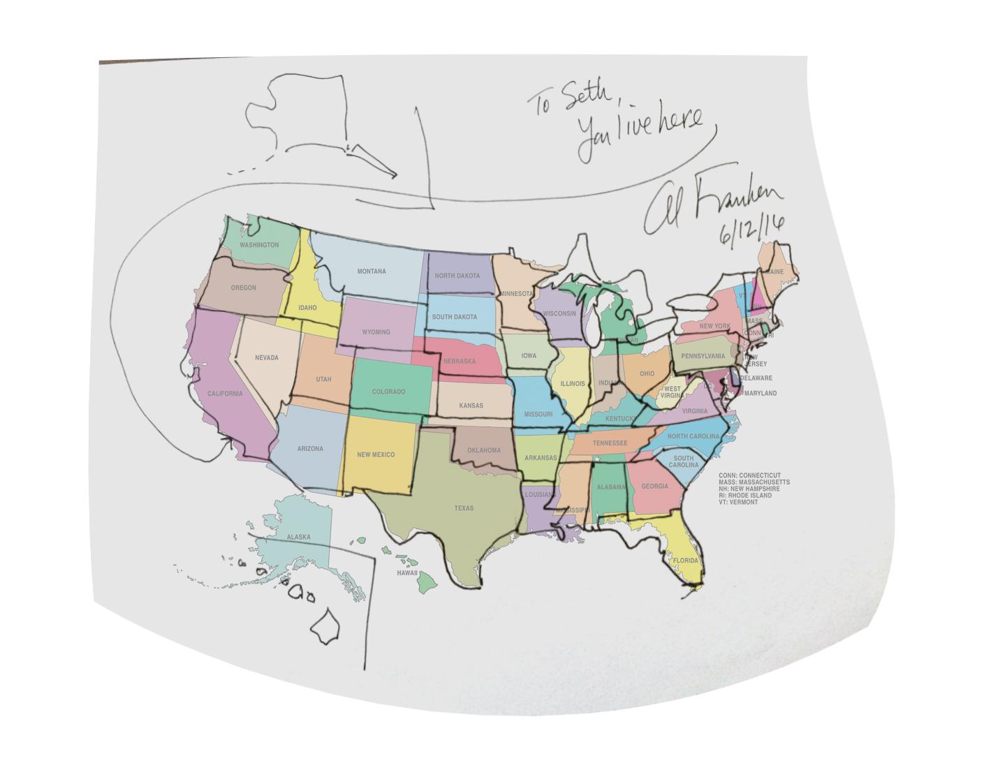 1419x1086 Senator Al Franken Drew A Free Hand Map Of The United States