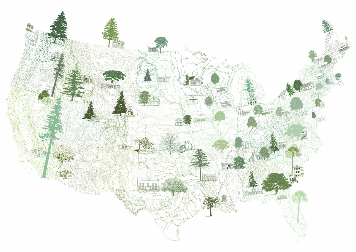 1200x850 Turn Of The Centuries American Homescape States Trees + State