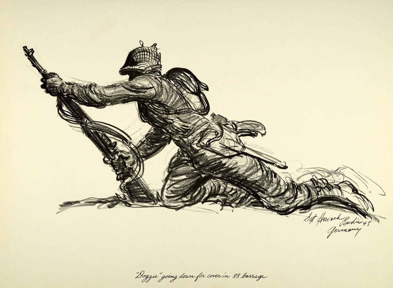 1500x1099 1963 Print Howard Brodie World War Ii Art U.s. Soldier Gi Gun