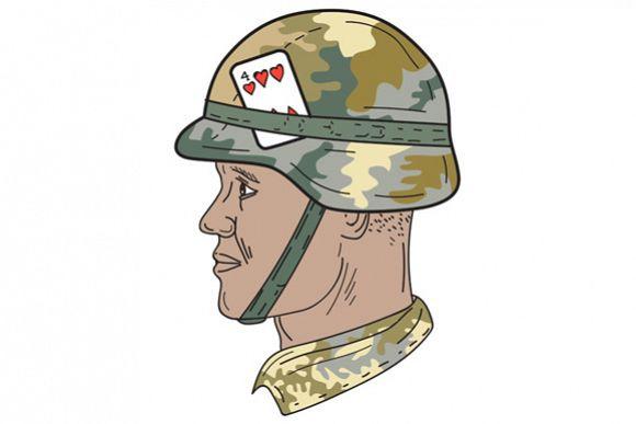580x387 African American Us Army Soldier Helmet Design Bundles