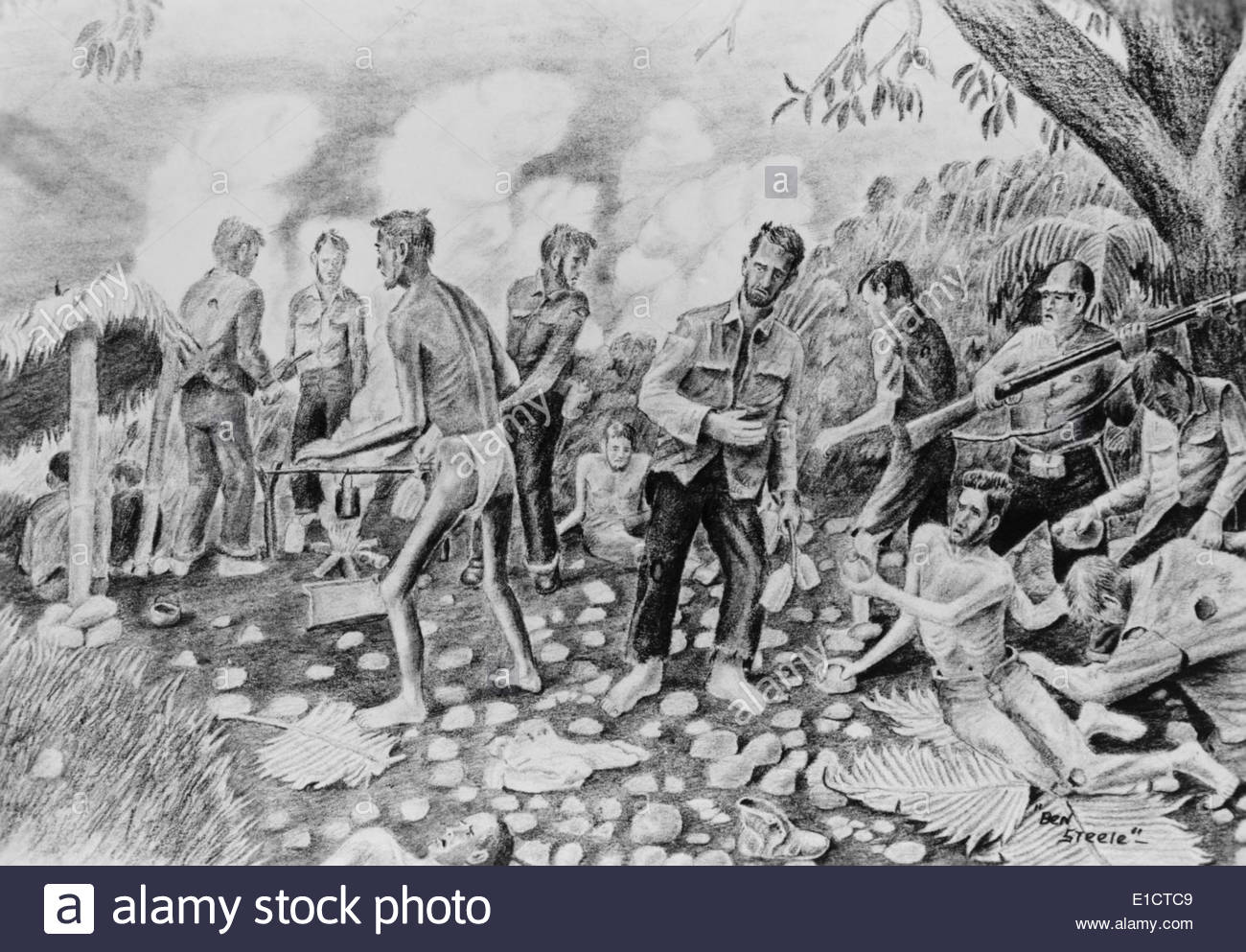 1300x993 Drawing By Pow Ben Steele, Depicting Sick U.s. Soldiers As